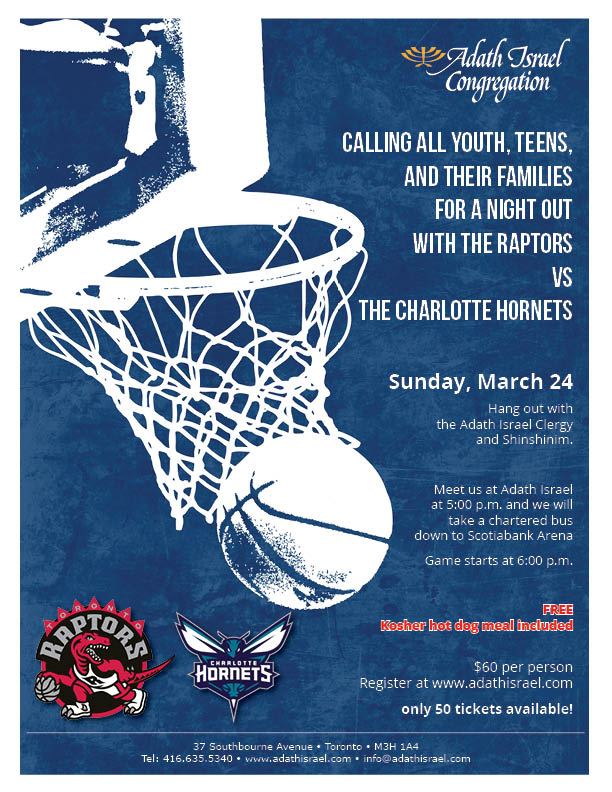 Youth, Teens, and Families: A night out with the Raptors vs the Charlotte Hornets – March 24, 2019
