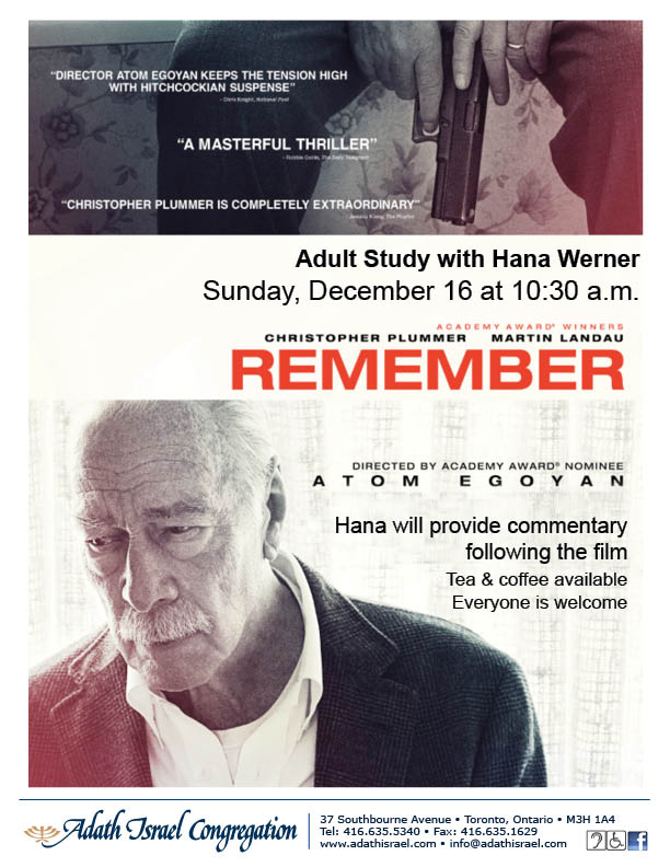 Adult Study with Hana Werner – Film & Review: Remember