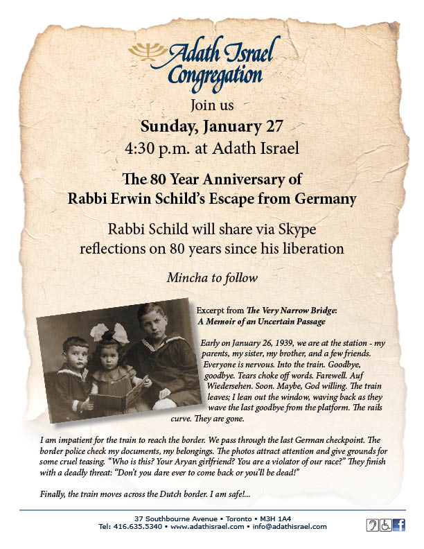 The 80 Year Anniversary of Rabbi Erwin Schild's Escape from Germany – January 27