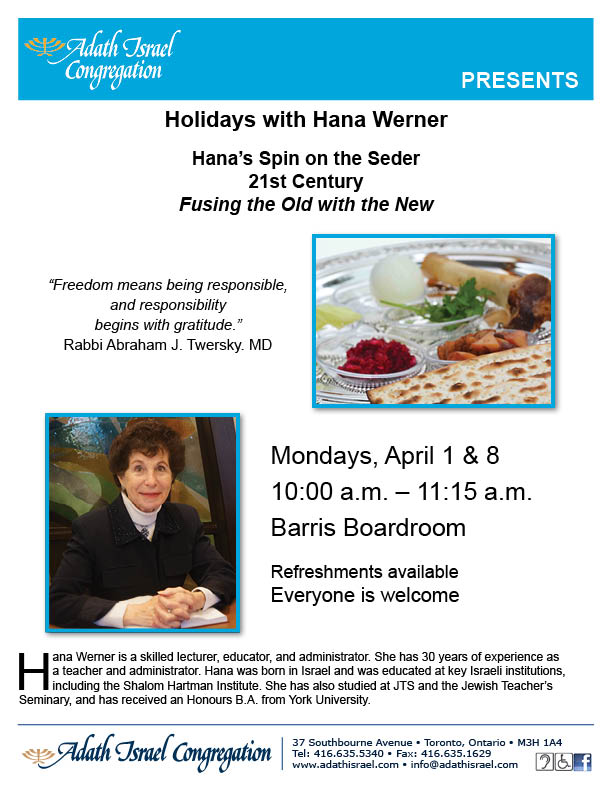 Holidays with Hana Werner: Hana's Spin on the Seder – April 1, 8