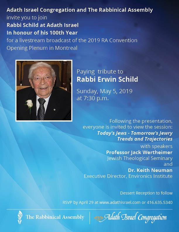 Tribute to Rabbi Erwin Schild – Sunday, May 5, 2019