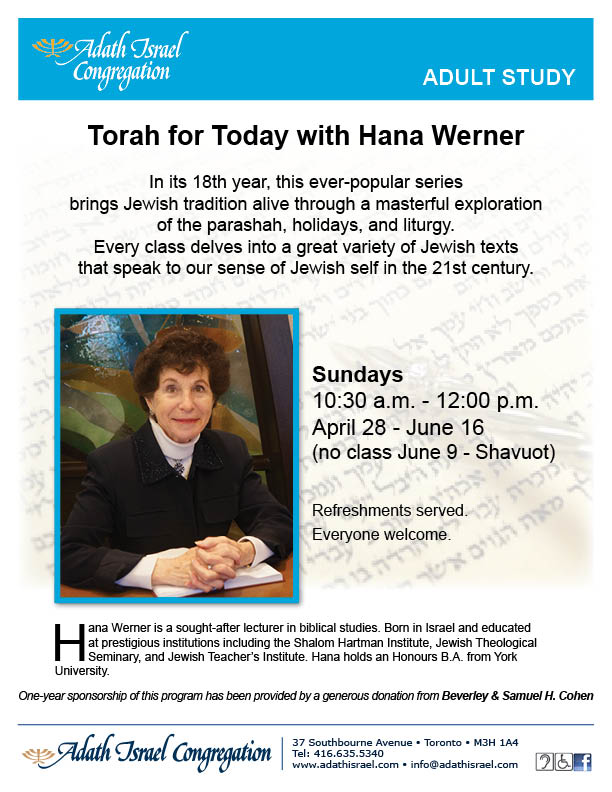 Torah for Today with Hana Werner – Spring