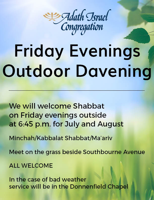 Friday Evenings Outdoor Davening – July and August