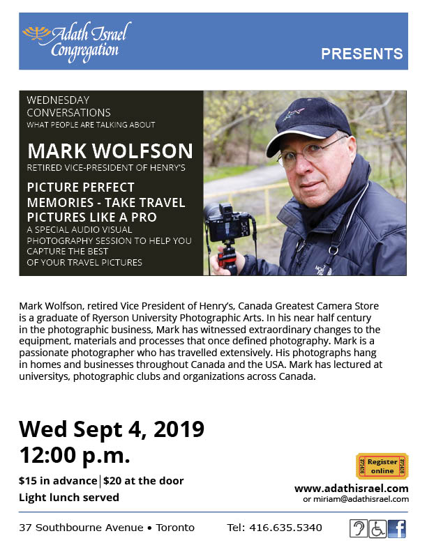 Mark Wolfson: Picture Perfect Memories – Wednesday, September 4, 2019