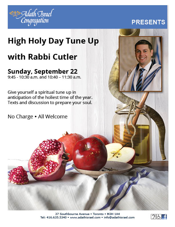 High Holy Day Tune Up with Rabbi Cutler – Sunday, September 22