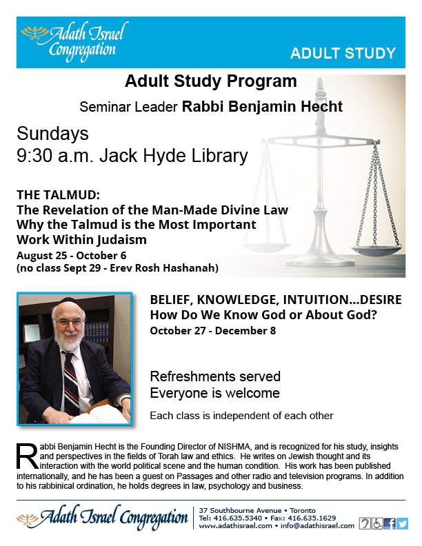 Rabbi Benjamin Hecht Fall 2019