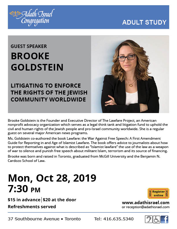 Brooke Goldstein – Monday, October 28, 2019