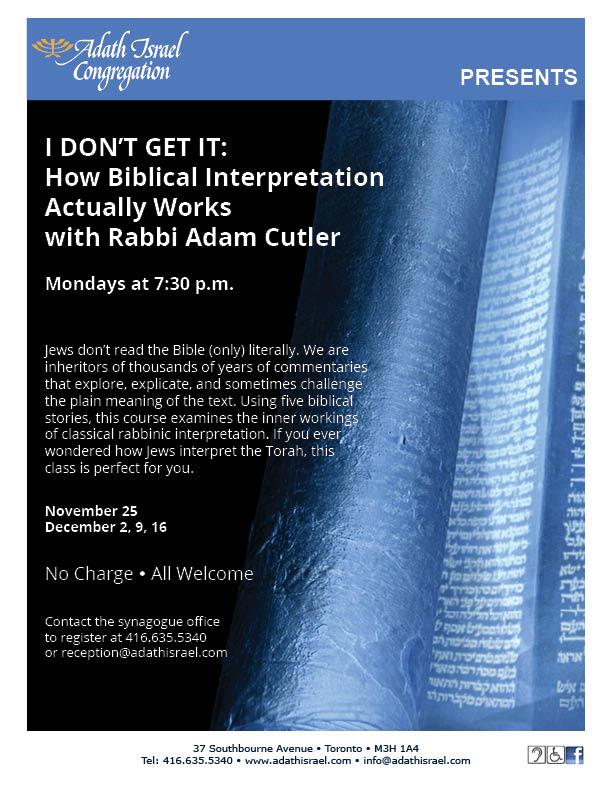 I Don't Get It with Rabbi Cutler – Nov 25, Dec 2, 9, 16