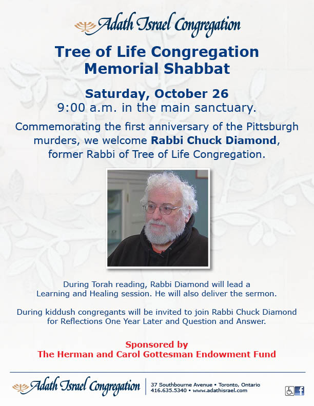 Tree of Life Congregation Memorial Shabbat – Saturday, October 26