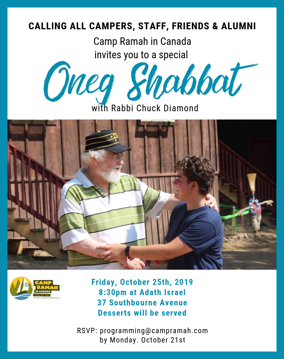 Camp Ramah in Canada Oneg Shabbat with Rabbi Chuck Diamond – Friday, October 25