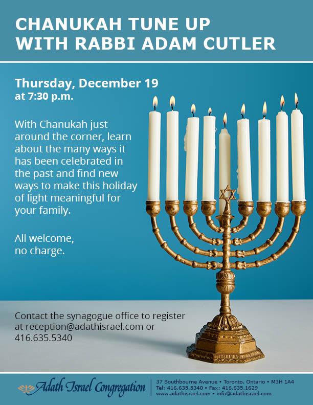Chanukah Tune Up with Rabbi Adam Cutler – Thursday, December 19