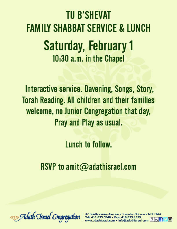 Tu B'Shevat Family Shabbat Service and Lunch – February 1