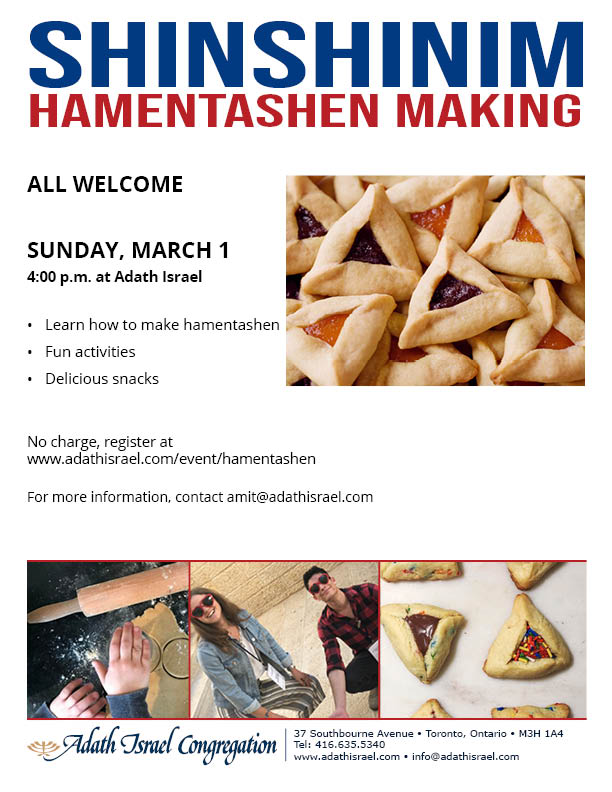 ShinShinim Hamentashen Making – Sunday, March 1
