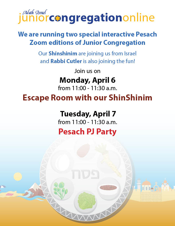 Junior Congregation Pesach Zoom Events
