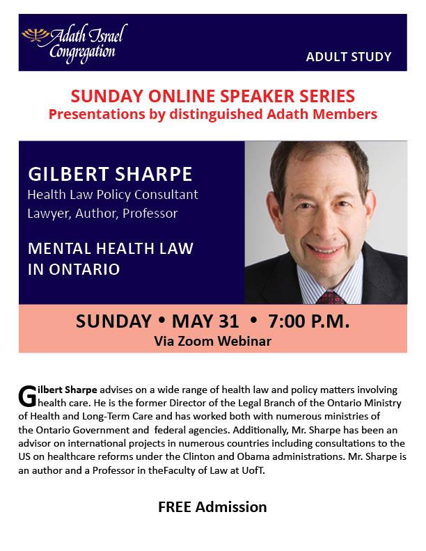 7:00 pm: Sunday Online Speaker Series – Gilbert Sharpe