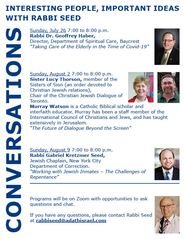 7:00 pm: Conversations – Interesting People, Important Ideas with Rabbi Seed