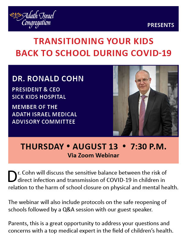 7:30 pm: Dr. Ronald Cohn – Transitioning Your Kids Back to School During COVID-19