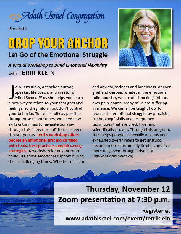 7:30 pm: Drop Your Anchor with Terri Klein