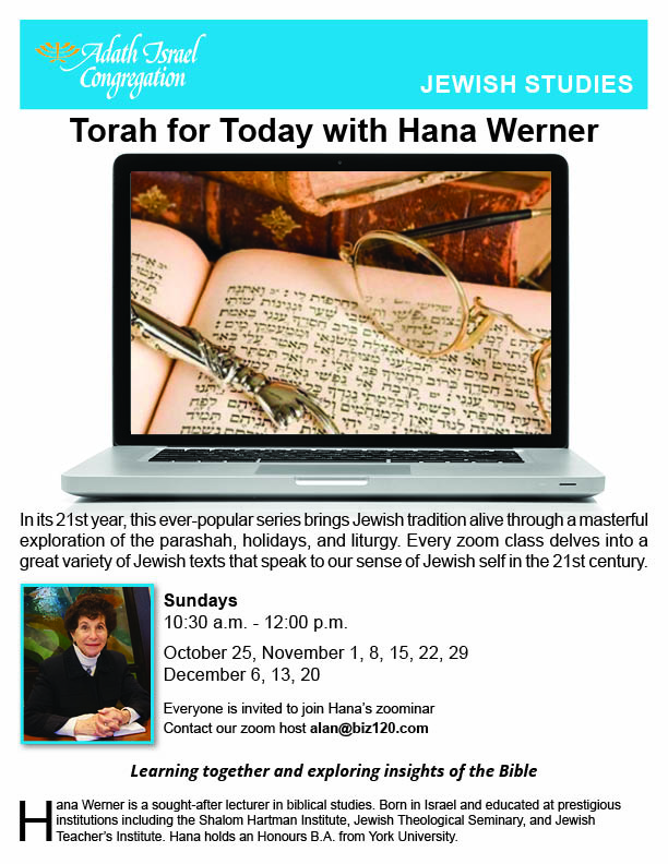 10:30 am: Torah for Today with Hana Werner