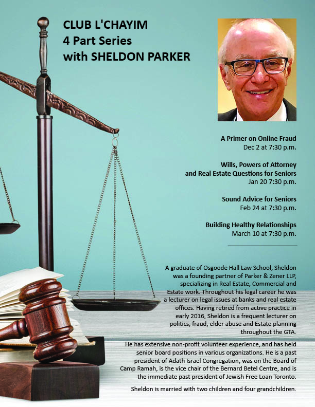 7:30 pm: Club L'Chayim 4 Part Series with Sheldon Parker