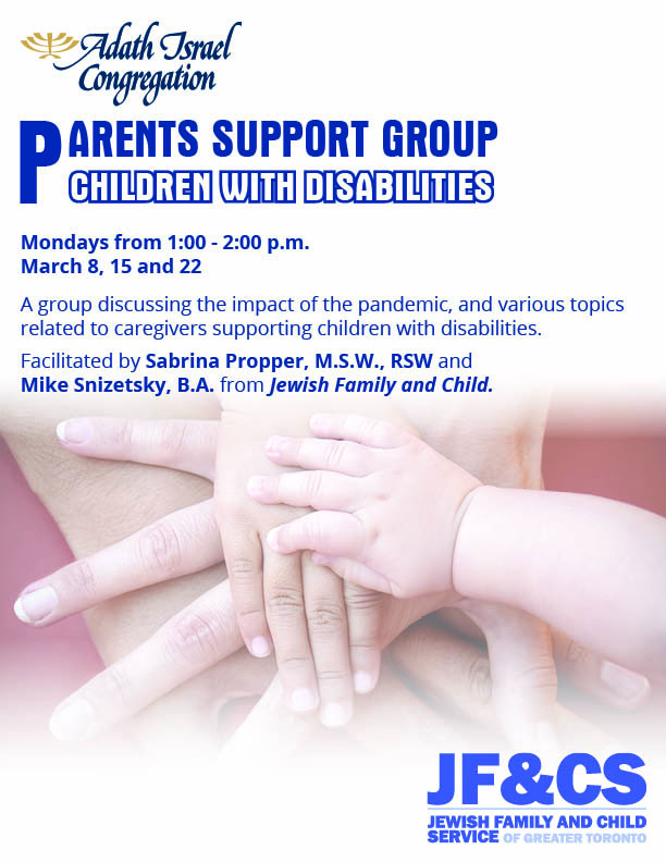 1:00 pm: Parents Support Group for Children with Disabilities