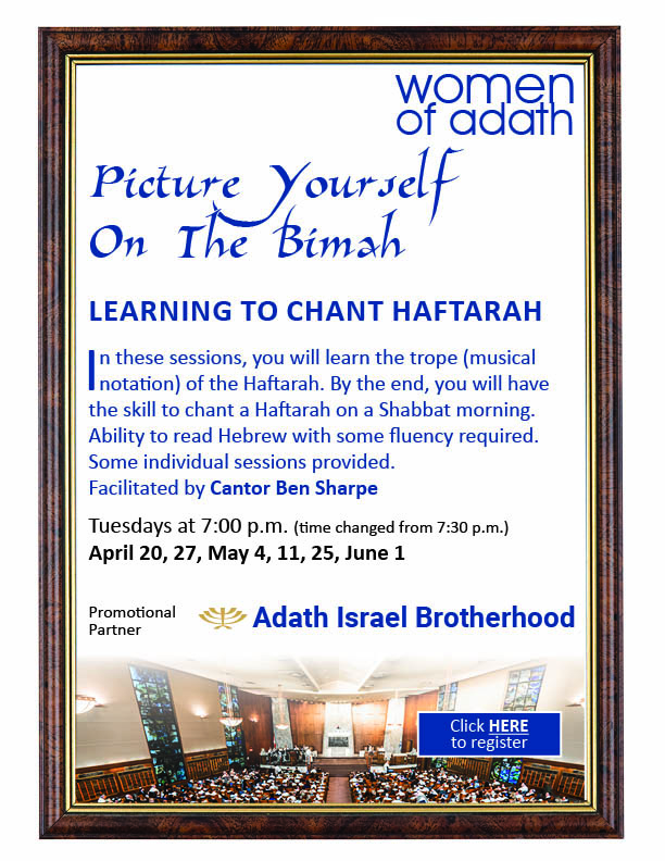 7:00 pm: WoA – Learning to Chant Haftarah