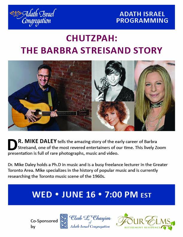 7:00 pm: Chutzpah – The Barbra Streisand Story