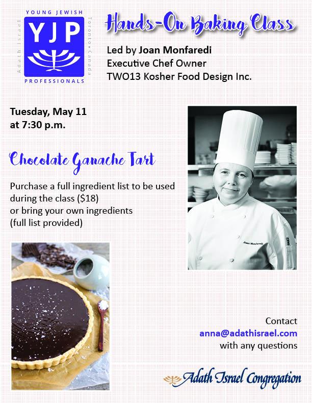 7:30 pm: Baking Class with Joan Monfaredi